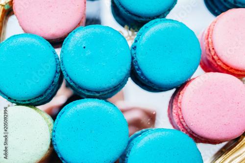Fotobehang Macarons Wedding candy bar, beautiful and tasty cakes, macarons