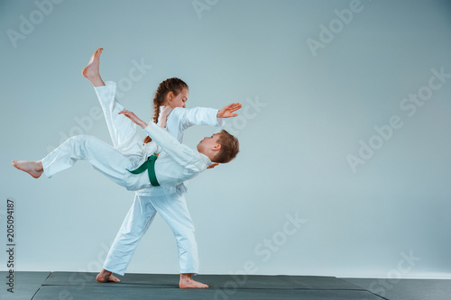 The boy fighting at Aikido training in martial arts school Canvas Print
