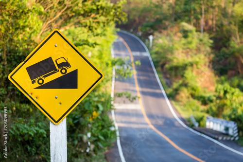 Fototapeta Uphill Traffic Sign