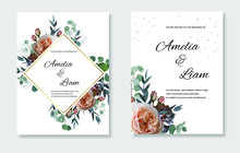 Pink Garden Rose,ranunculus,white Anemone, Eucalypyus Leaves In Watercolor Style.Botanical Set Template With Gold Frame For Invite, Covers And Greeting,package