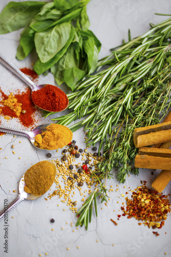 Foto op Canvas Aromatische Spices and herbs