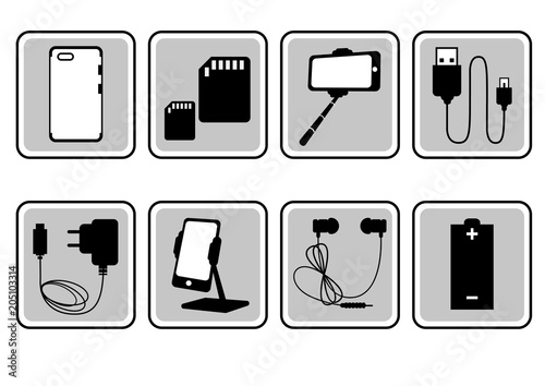 Set gray icons of mobile accessories. Vector illustration.