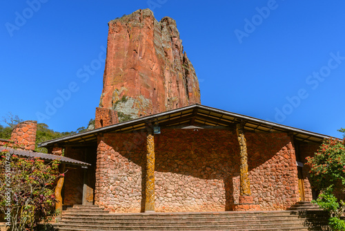 Foto op Canvas Historisch geb. Chochis Sanctuary and David Tower, Chochis, Bolivia