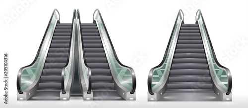 Photographie Double escalator shopping center or office with transparent glass
