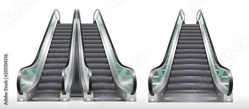 Obraz na plátně Double escalator shopping center or office with transparent glass