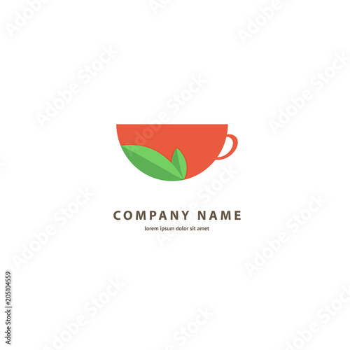 Staande foto Thee Vector stock logo, abstract sign of cafe, vector template of cafeteria and bistro.