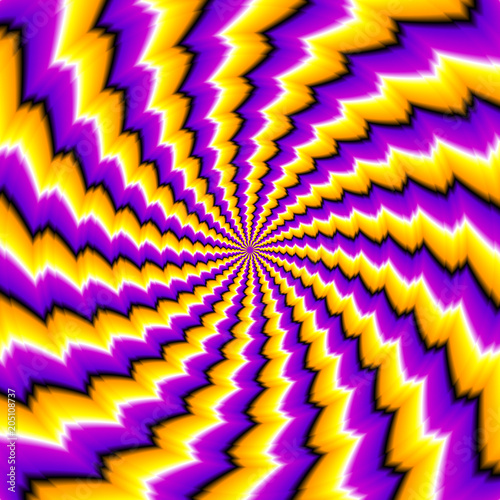 Fényképezés  Abstract yellow and purple background. Spin illusion.