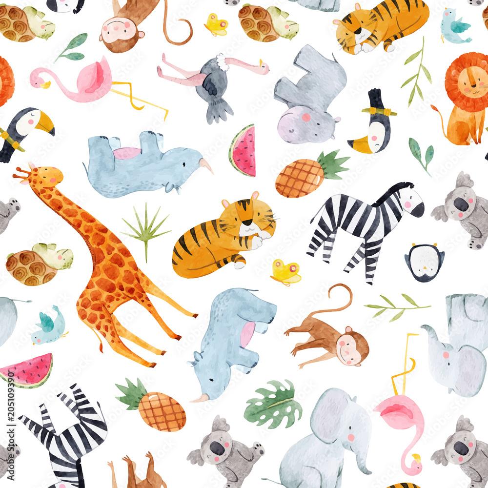 Safari zwierząt akwarela wektor wzór <span>plik: #205109390   autor: zenina</span>