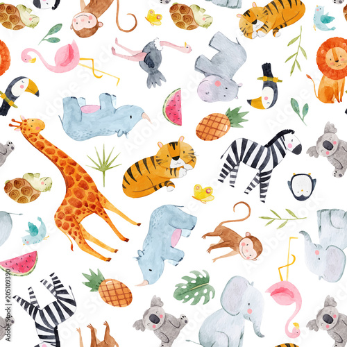 Safari animals watercolor vector pattern Wallpaper Mural