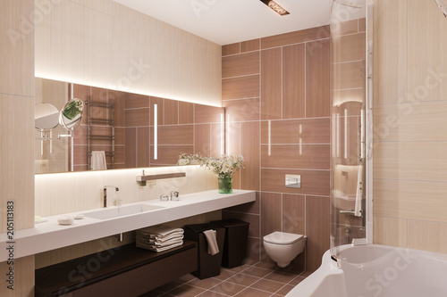 Exceptionnel Interior Design Of A Modern Bathroom With A Large Mirror. 3d Illustration  In Warm Colors