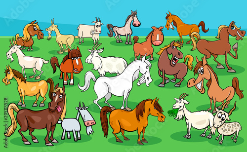 Deurstickers Pony horses and goats farm animal characters group