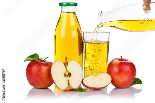 Papiers peints Apfelsaft einschenken eingießen eingiessen Apfel Saft Äpfel Flasche Fruchtsaft freigestellt Freisteller