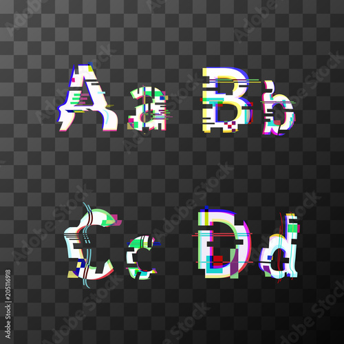 Glitch distortion font. Latin A, B, C, D letters on transparent Wallpaper Mural