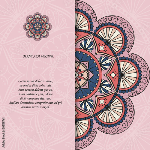 Photo  Indian style colorful ornate mandala card
