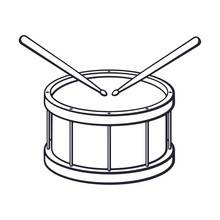 Doodle Of Classic Wooden Drum With Drumsticks