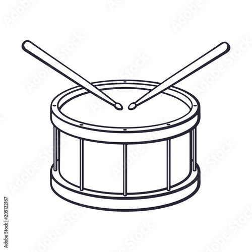 Tela Doodle of classic wooden drum with drumsticks