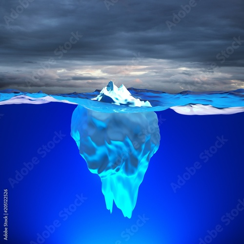 Poster Glaciers Eisberg schwimmt auf dem Meer / Konzept globale Erwärmung