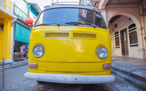 Foto op Plexiglas Artist KB Picture of a yellow bus - vacation journey
