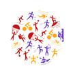 Cartoon Outdoor Activities Sports Games Round Design Template. Vector