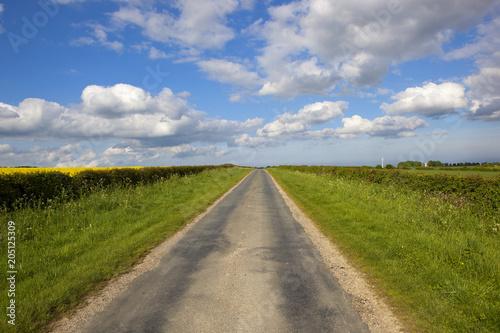 Foto op Canvas Bleke violet Yorkshire wolds road in Springtime