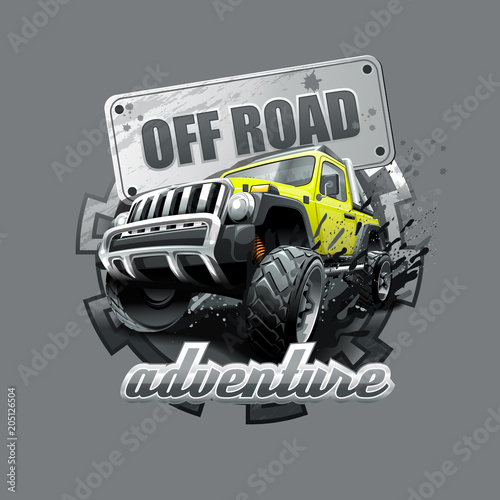 Fotografie, Obraz  Extreme yellow Off Road Vehicle SUV. Vector illustration.