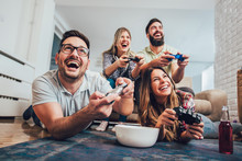 Group Of Friends Play Video Ga...