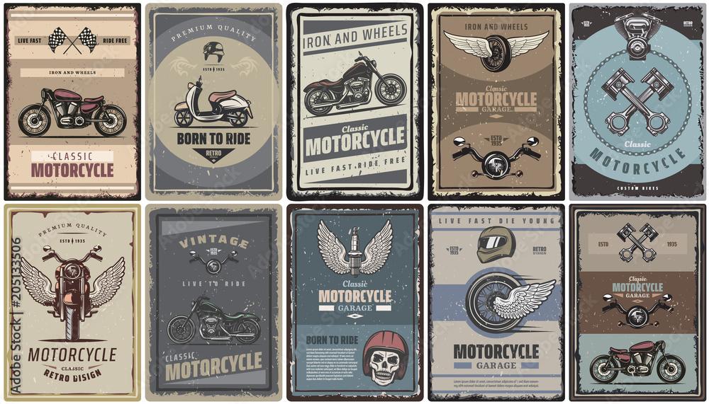 Fototapeta Vintage Colored Motorcycle Posters Set