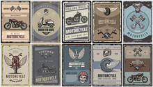 Vintage Colored Motorcycle Posters Set