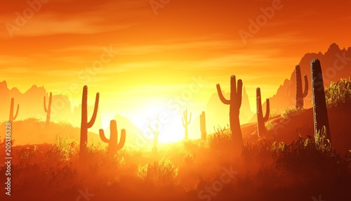 Poster de jardin Rouge traffic desert at sunset, rocky desert arizona with cacti under the setting sun, 3D rendering