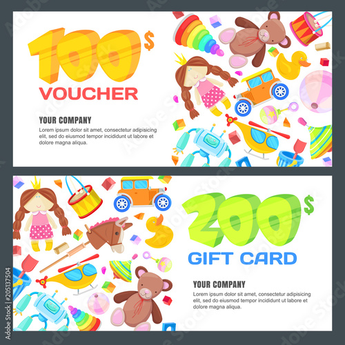 Gift Card Voucher Certificate Or Coupon Vector Design Layout