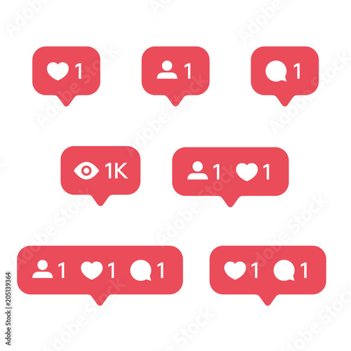 Fotomural  Red Heart like, new message bubble, friend request quantity number notifications icons templates
