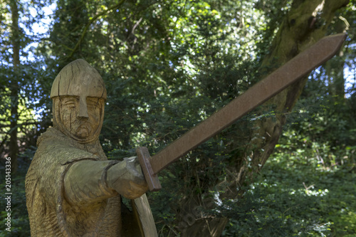 11th Century Soldier Sculpture at Battle Abbey Canvas Print
