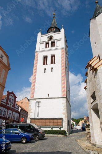 Poster Artistiek mon. Historic belfry in the town Vimperk in southern Bohemia, Czech republic, Europe,