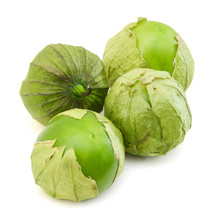 Four Tomato Tomatillos Fruits Isolated On White Background