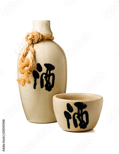 Sake bottle and cup isolated on white background