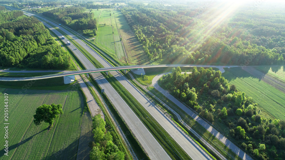 Fototapety, obrazy: Highway from drone