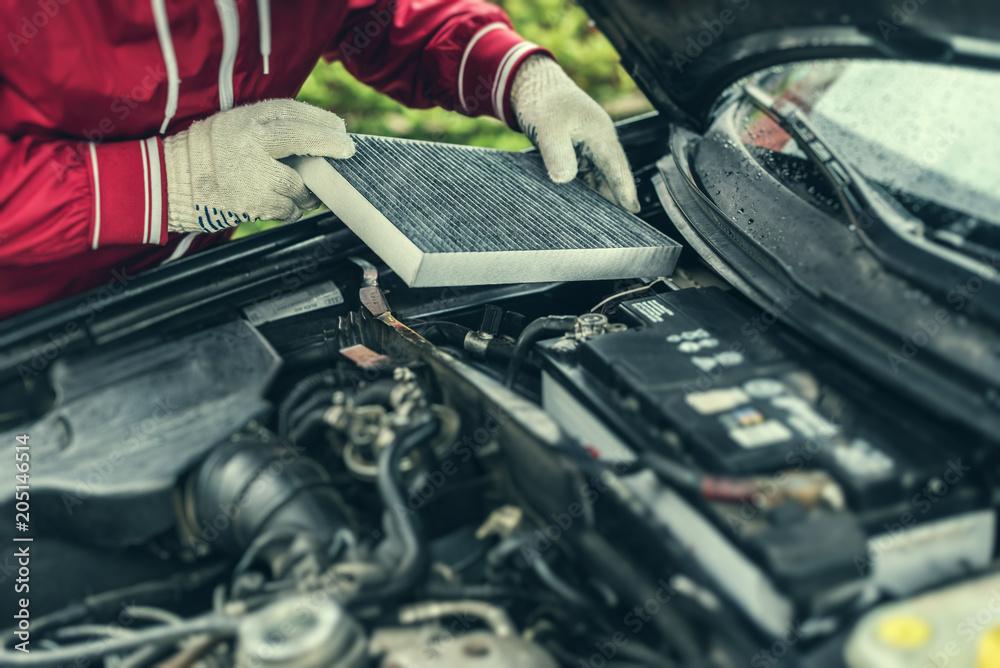 Fototapeta The auto mechanic replaces the car's interior filter.