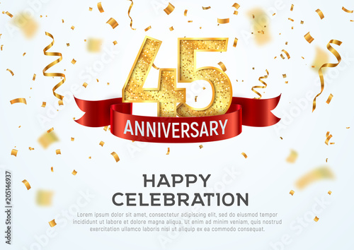 фотография  45 years anniversary vector banner template