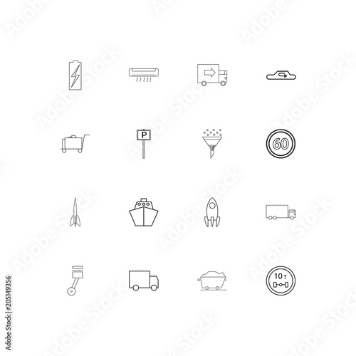 Fotografía  Cars And Transportation linear thin icons set