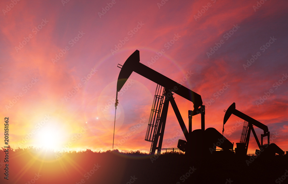 Fototapety, obrazy: Sunset Over Pump jack Silhouette With Copy Space.