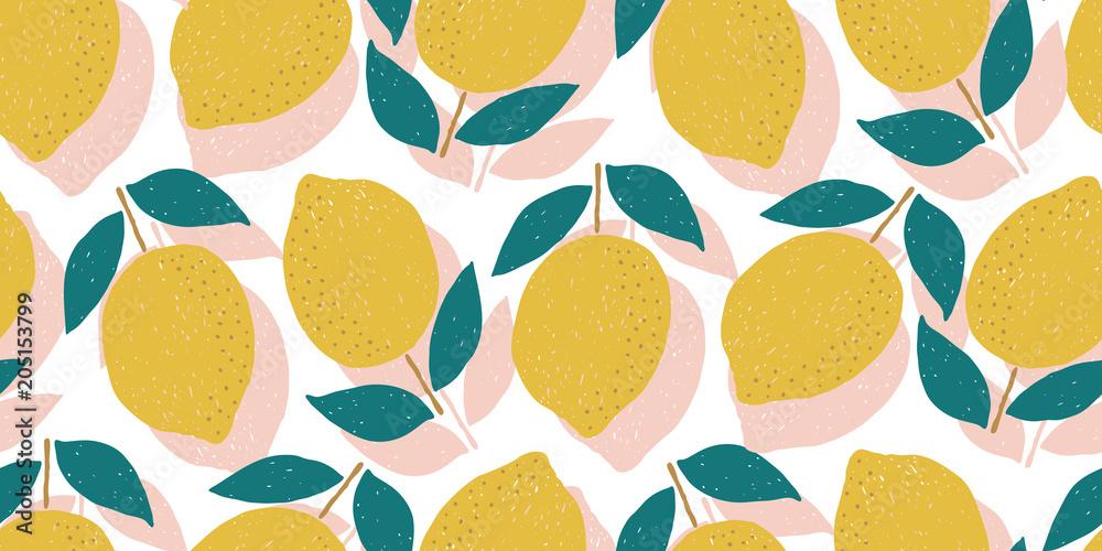 Fototapeta vector seamless lemon pattern, summer fruit design