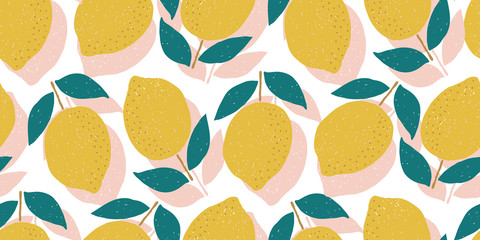 vector seamless lemon pattern, summer fruit design