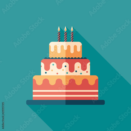 Fotografía  Festive cake flat square icon with long shadows.