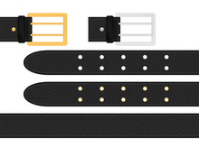 Seamless Black Leather Belt With Metallic Silver And Golden Buckle. Isolated Vector Illustration.