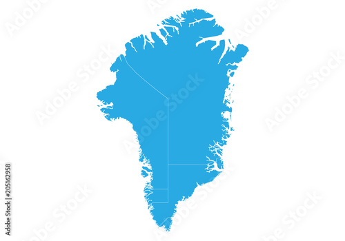 Fotografie, Obraz  Map of greenland. High detailed vector map - greenland.