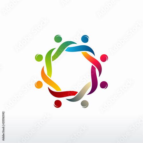 Colorful Happy People Vector Community Logo Teamwork Logo