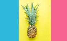 Ripe Pineapple With Bushy Gree...