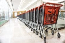 Many Rows Of Red Shopping Carts