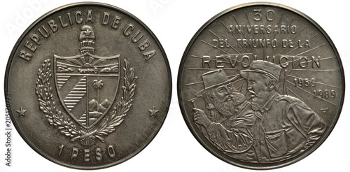 Valokuva  Cuba Cuban coin one peso 1989, 30th anniversary of revolution, Fidel Castro talk