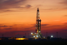 Sunset Oil Drilling In The Field